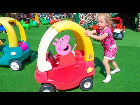 Thumbnail: Peppa Pig playing on outdoor playground Nursery Rhymes Songs Family Fun with Jumping Peppa Toys