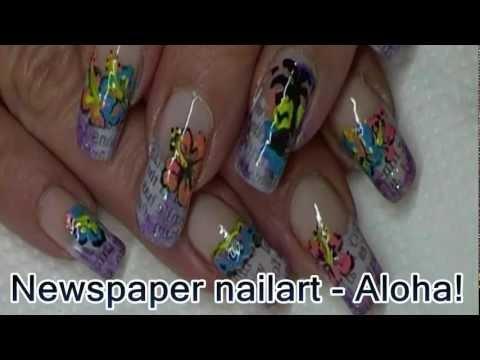 Newspaper nailart - Aloha! (Robin Moses inspired)