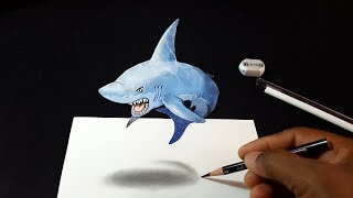 How to Draw 3D Shark in the Air - Easy 3D Drawing