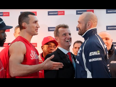 SECOND TIME LUCKY! - TYSON FURY FINALLY SHAKES KLITSCHKO'S HAND AFTER FIRST REFUSING TO AT WEIGH IN