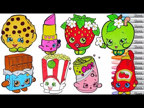 Shopkins Coloring Book Pages Compilation Season 1 Lippy Lips Kooky Cookie Strawberry Kisses rscb