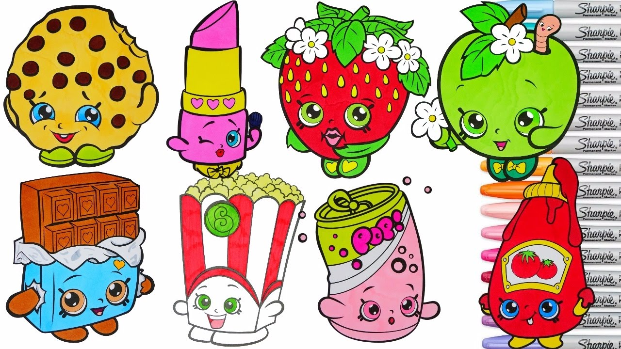 Shopkins coloring pages kook cookie - Shopkins Coloring Book Pages Compilation Season 1 Lippy Lips Kooky Cookie Strawberry Kisses Rscb