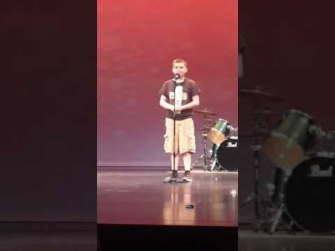 Kory Goodwin singing Fierce by Jesus Culture at Paw Paw Middle School talent show 2017