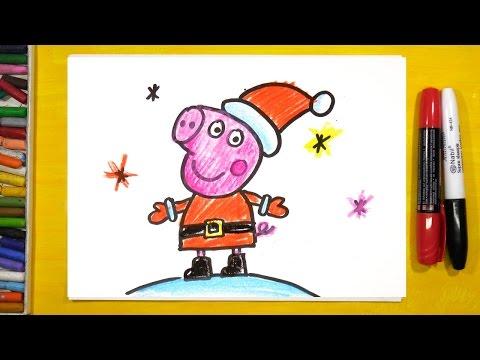 Свинка Пеппа рисунки на Новый год / Урок рисования для детей