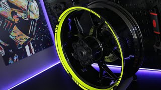 motoinkz fluorescent green wheel stripes tape