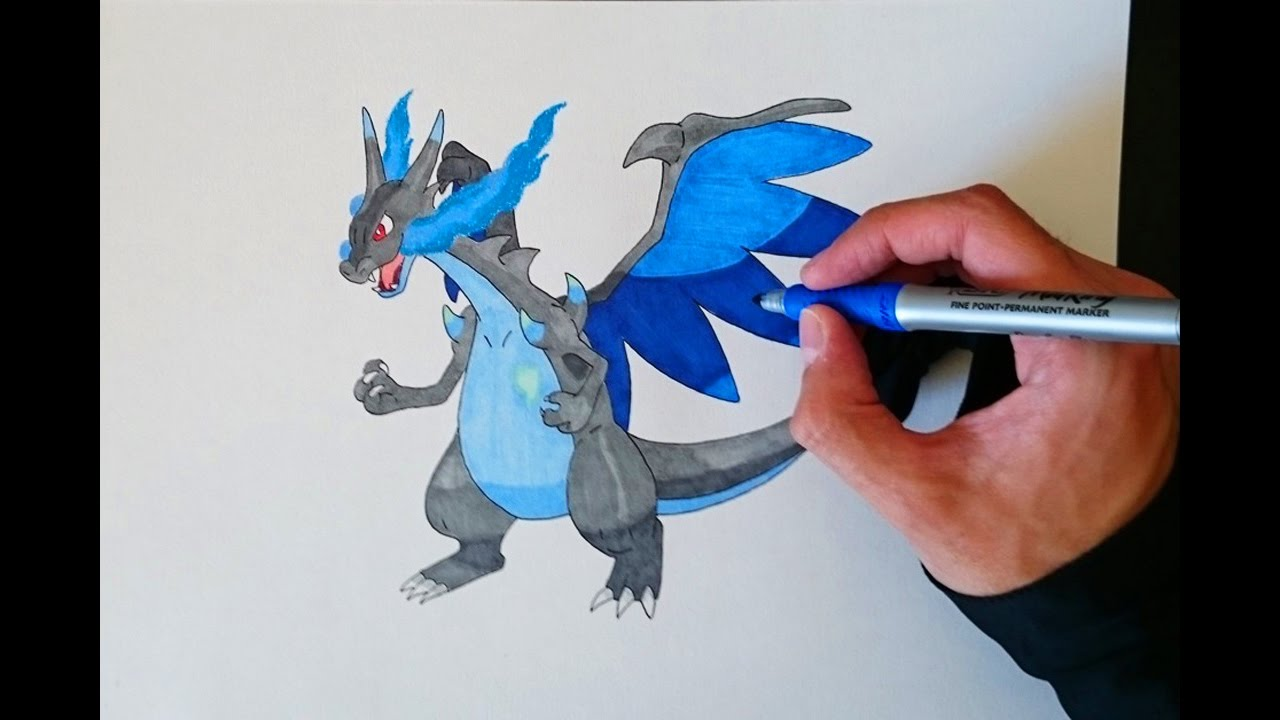 Como Dibujar A Mega Charizard X Paso A Paso How To Draw Mega Charizard X Step By Step
