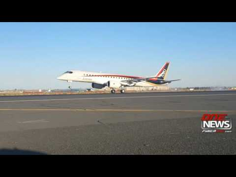 First Mitsubishi Regional Jet arrives in Moses Lake for flight testing
