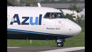 Pouso e Decolagem em Joinville com Aceno dos Pilotos - ATR 72-600 - (PR-AKL) 24/06/2019