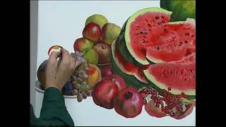 Натюрморт с арбузами. Андрияка С.Н. (ускоренный видеоурок) акварель watercolor