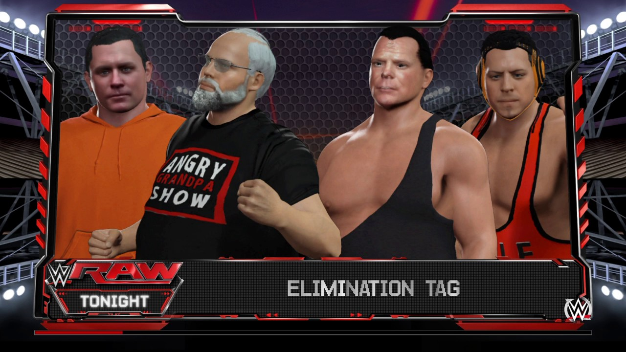 891e20ba2477 WWE 2K16 Elimination Tag Match Jerry Lawler & Michael Cole VS Angry Grandpa  & Psycho Dad On Raw