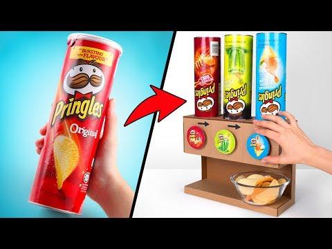 Картонный диспенсер чипсов Pringles для большой компании своими руками