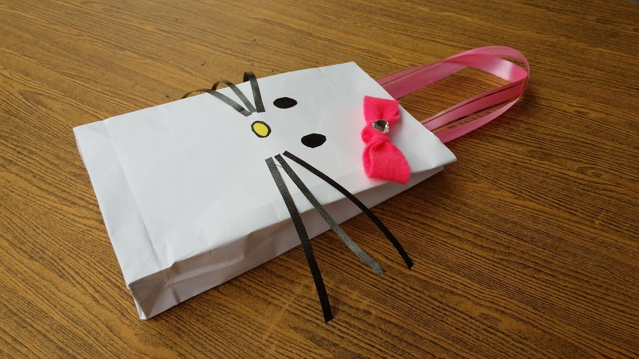 DIY Hello Kitty Paper Bag for gift - YouTube e880624b5702f
