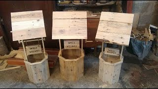 These wishing wells are made nearly entirely from pallet wood :) Apart from the Dowel for the crank handle, it