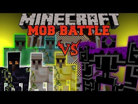 DIAMOND, EMERALD, GOLD, OBSIDIAN, AND IRON GOLEM VS ROBO POUNDER - Minecraft Mob Battles - Golem Mod