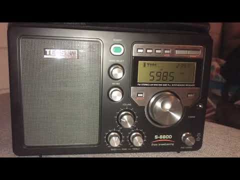 DXing at home with a magnetic loop and Tecsun S-8800: Myanmar Radio 5985 kHz, Yangon