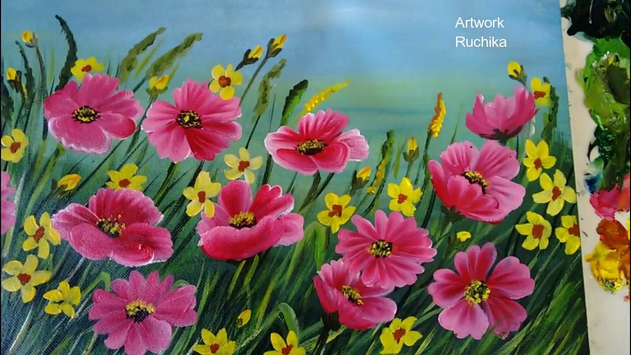 flower garden painting acrylic
