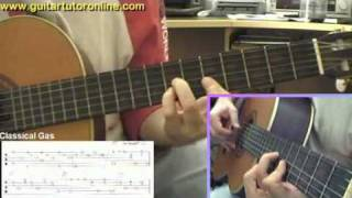 How to play Classical Gas by MASON WILLIAMS on Nylon Classical Guitar (Part 2/4)