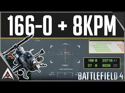 Battlefield 4 Attack Helicopter Killstreak - 166-0 in 800 Tickets!!