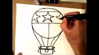 como dibujar un globo aerostatico | como dibujar un globo aerostatico paso a paso