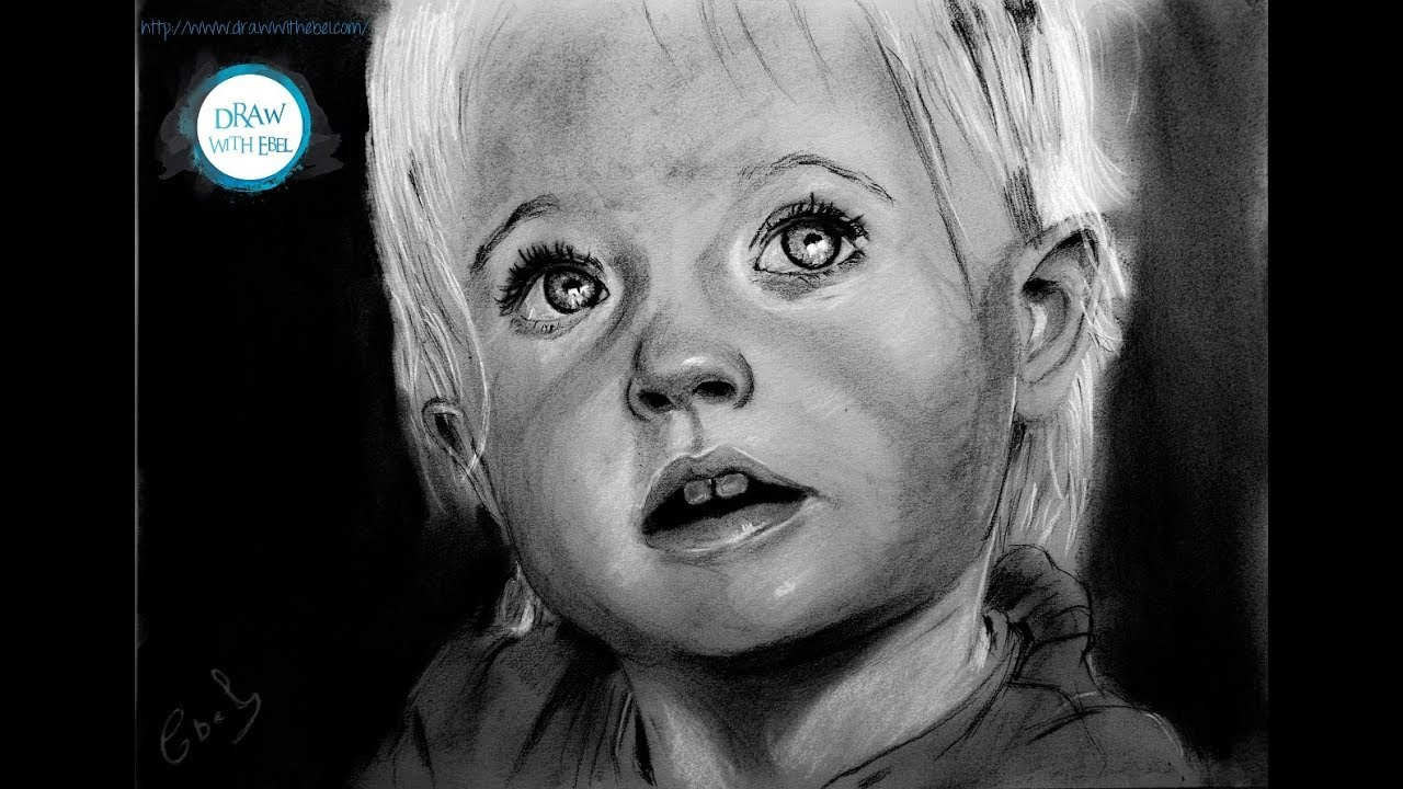Speed Drawing : Baby Girl Portrait - YouTube
