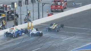 IndyCar Series 2017. Texas Motor Speedway. Leaving Pits Crash