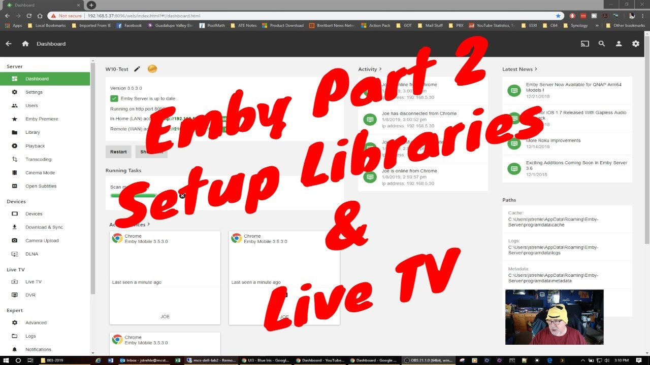 Emby part 2 - Setup libraries & Live TV guide data
