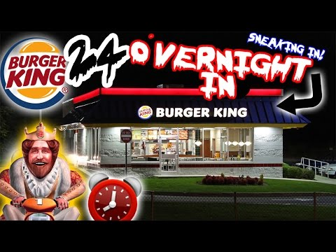 (FORT CHALLENGE) 24 HOUR OVERNIGHT CHALLENGE AT BURGER KING // SLEEPING IN BURGER KING FORT! ⏰