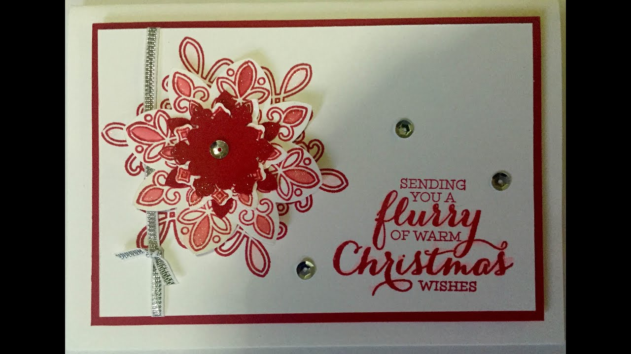 Christmas Card Making Ideas Stampin Up Part - 23: Flurry Of Wishes Christmas Card Using Stampinu0027up By Mahes - YouTube