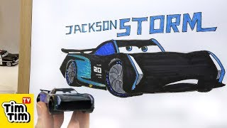 How to draw CARS 3 - Jackson Storm with basic structure | Easy step-by-step for kids | Art colors