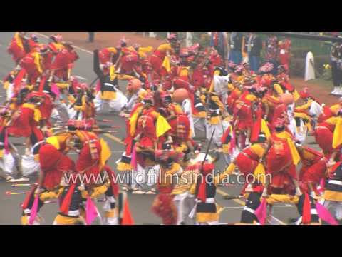 'Saila' folk dance Gond tribe being performed at Republic Day Parade