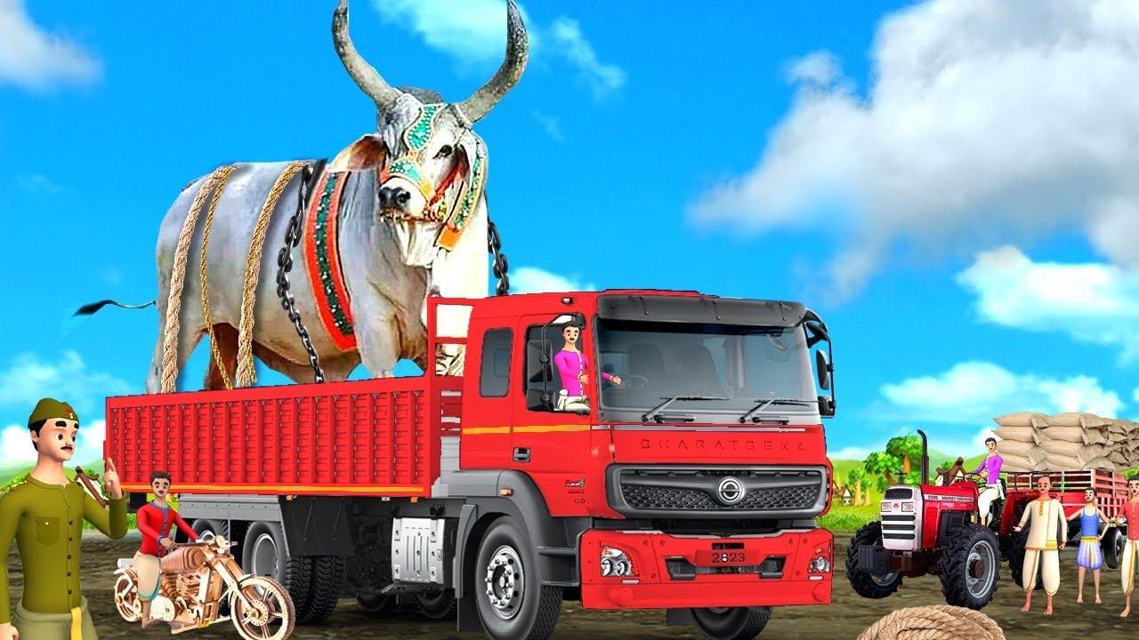 అతి పెద్ద ఎద్దు లారీ తెలుగు కధ - Giant Bull Truck 3D Animated Telugu Moral Stories Maa Maa TV