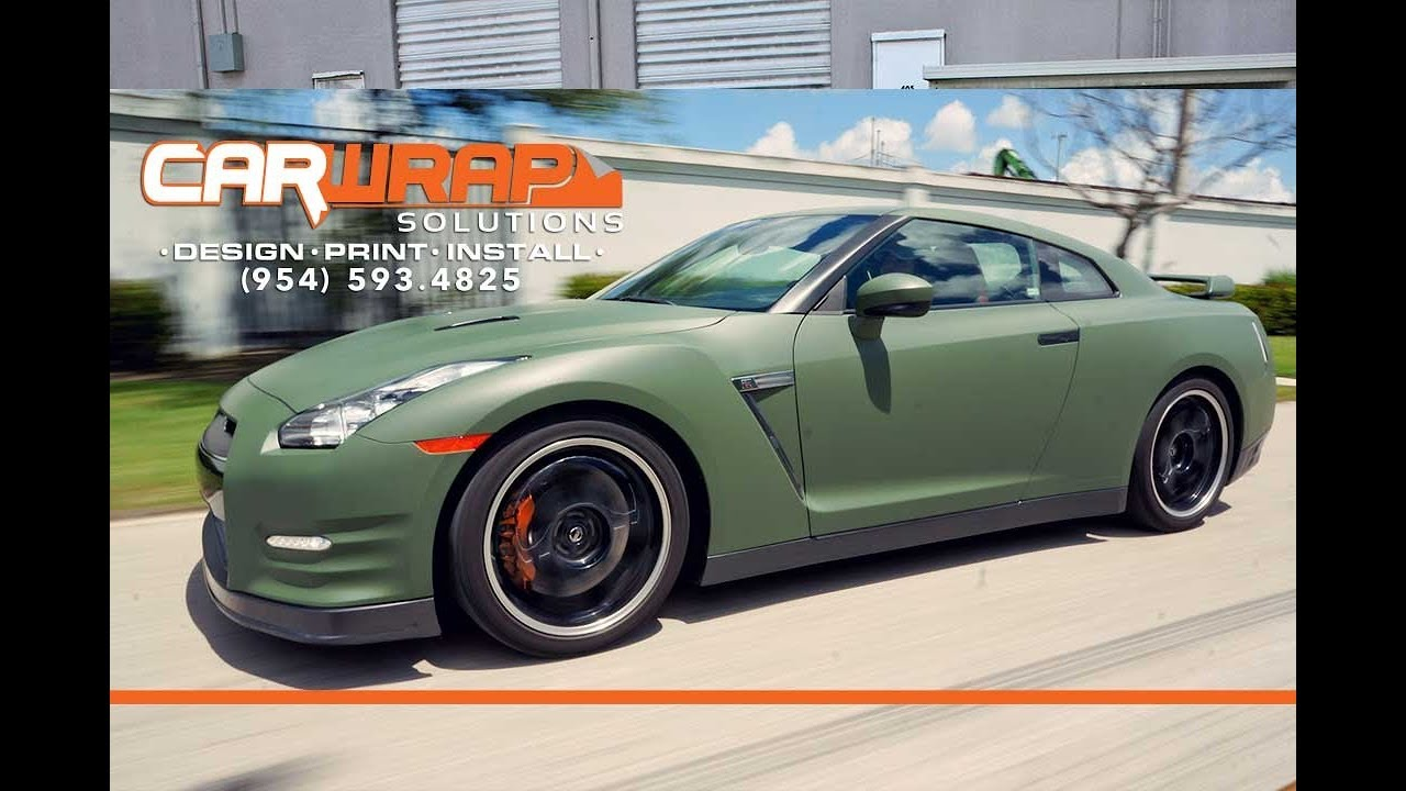 Custom Nissan Gtr 3m Matte Military Green Vinyl Car Wrap Miami
