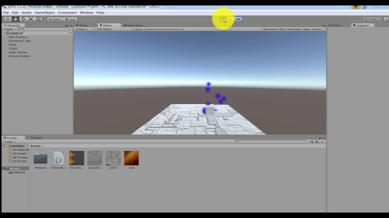 Unity Object Collision and Sound and Particle System