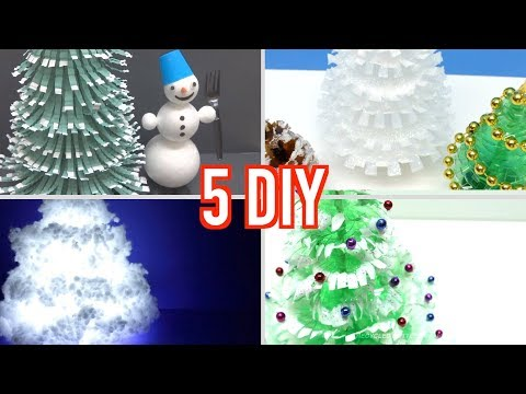 5 DIY Christmas Trees from Plastic Bottles - Art and Craft Ideas