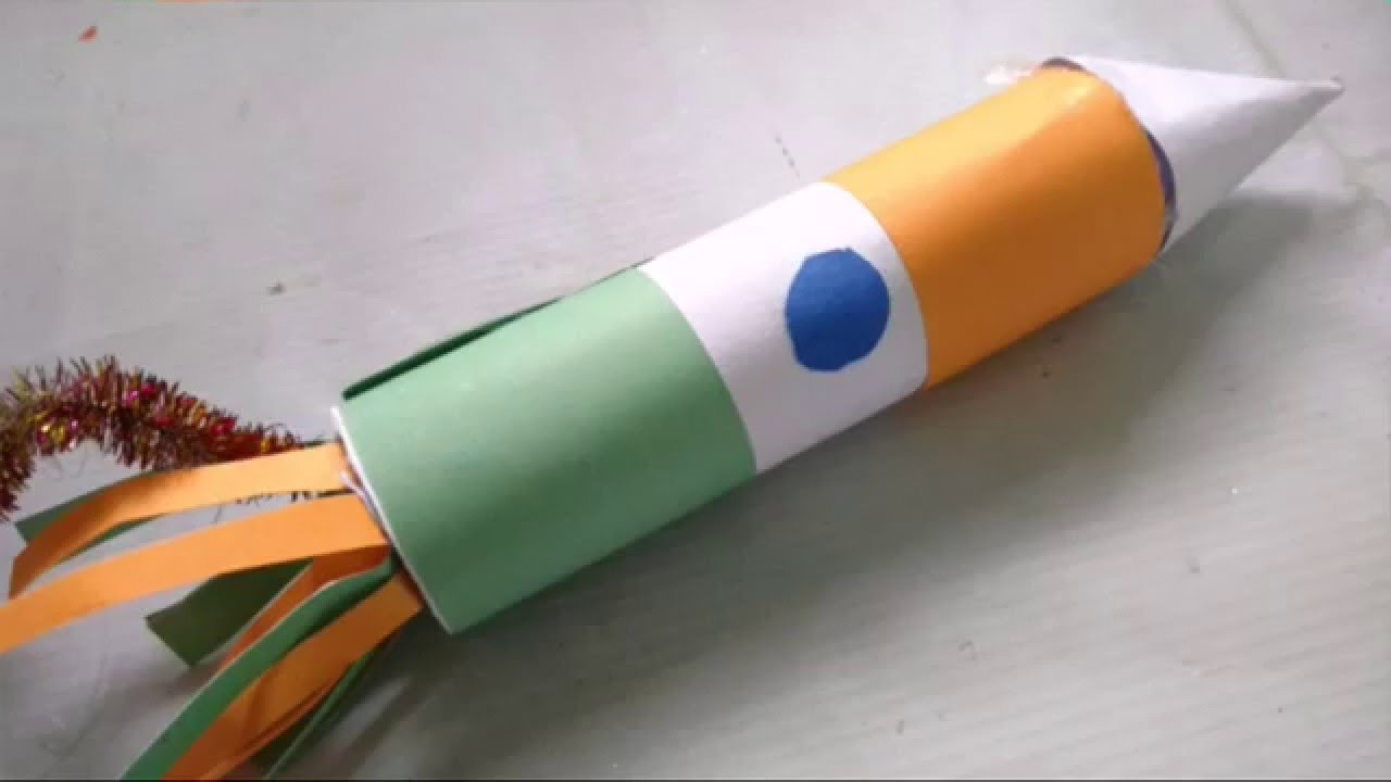 Tricolour Indian Flag Rocket Craft For Kidstoilet Paper Roll throughout craft ideas independence day regarding Invigorate