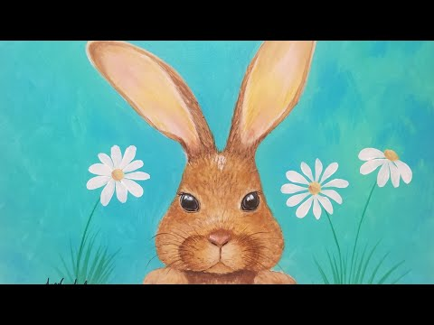 Bunny Rabbit Acrylic Painting Tutorial LIVE Step by Step Lesson