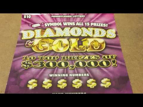 DIAMONDS & GOLD $10 TICKET~PA LOTTERY INSTANT GAMES
