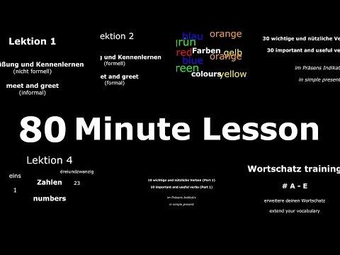 Deutsch Lernen: Grundwortschatz, Häufige Sätze Wichtige Verben | 80 Min Lektion | Learn German HD♫ from YouTube · Duration:  1 hour 17 minutes 24 seconds