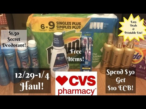 CVS HAUL 12/29-1/4 Spend $30 Get $10 | FREE Toothbrushes & Mouthwash!
