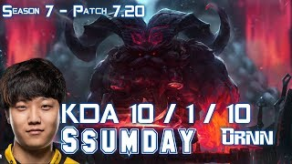 Ssumday ORNN vs ILLAOI Top - Patch 7.20 KR