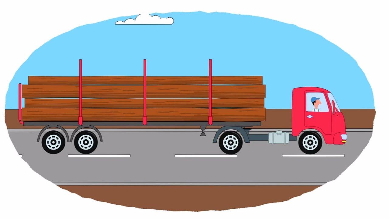 мультик раскраска учим цвета мультфильмы про машинки и технику грузовые прицепы