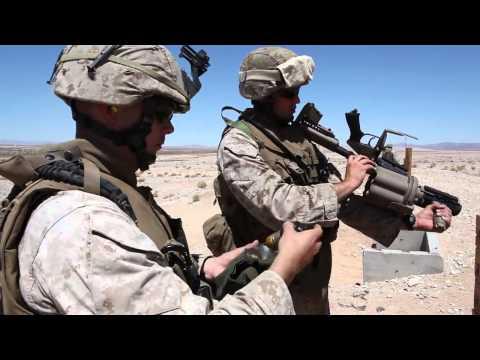 Marines Fire Grenade Launcher - M32 Multiple Grenade Launcher (MGL) Fired On Range