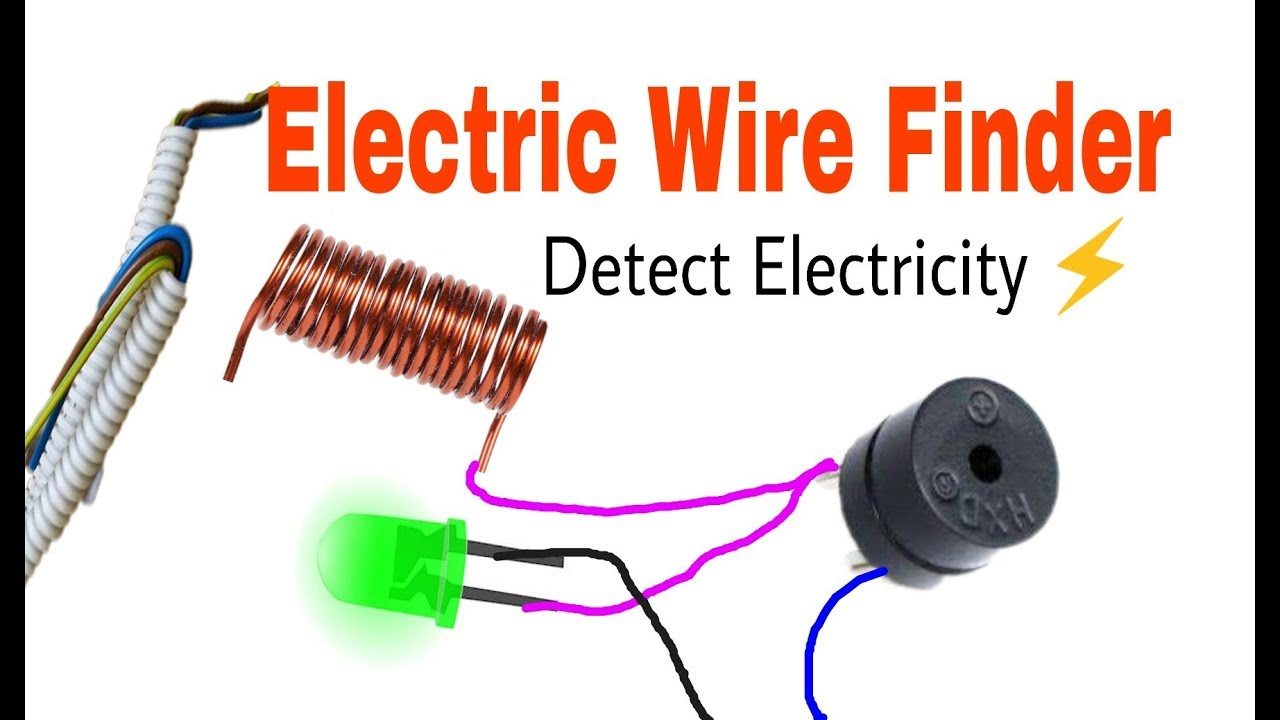 Electric wire detector using 555 ic and buzzer