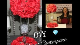 DIY DOLLAR TREE RED FLORAL ARRANGEMENT CENTERPIECE| KISSING BALL| WEDDING DECOR TUTORIAL