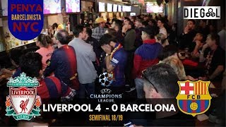 Liverpool 4 barcelona 0, second leg semifinal uefa champions league 2018/19. fc fans reaction in new york. penya barcelonista nyc react to: liverpo...