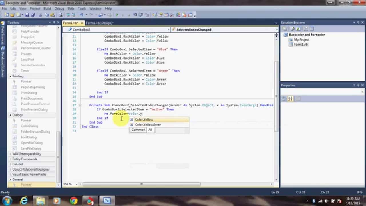 Backcolor And Forecolor In Visual Basic