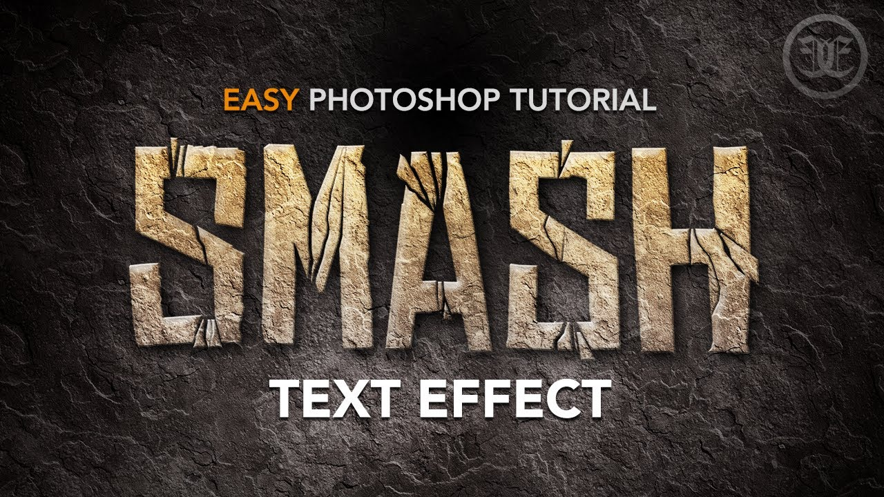 Easy photoshop tutorial smashed text effect w rock texture youtube baditri Images