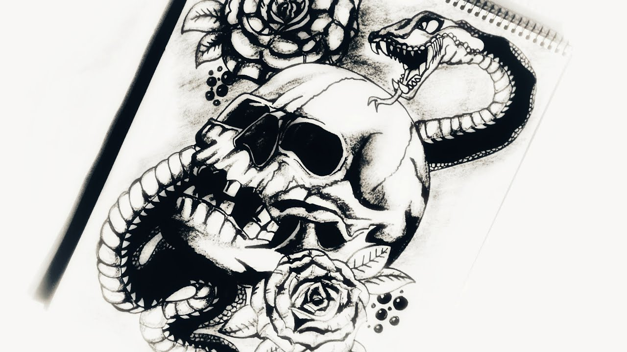How To Draw Skull Snake Roses Tattoo Design