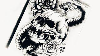 How to Draw Skull, Snake & Roses Tattoo Design | Body Tattoo | 2018 update