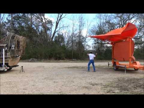 Jobsite Shade Trailer - orange unit wind test - registered 49 mph, no anchor points